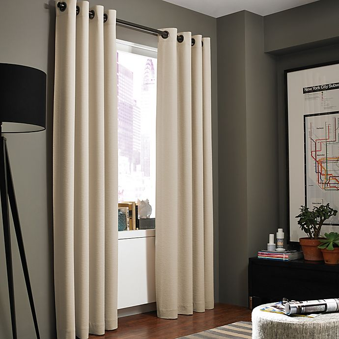 Alternate image 1 for Kenneth Cole Reaction Home Gotham Texture 63-Inch Lined Grommet Window Curtain Panel in Hemp