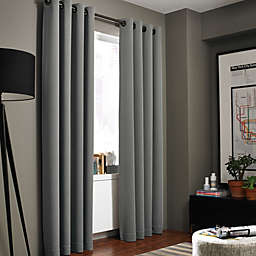Kenneth Cole Reaction Home Gotham Texture 84-Inch Lined Grommet Window Curtain in Graphite
