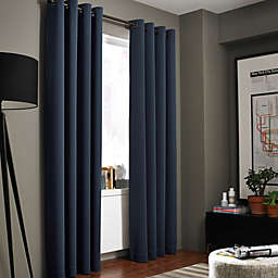 Kenneth Cole Reaction Home Gotham Texture 84-Inch Lined Grommet Window Curtain in Midnight