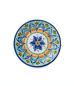 Plato redondo para ensalada con diseño artesanal de 21.33 cm en azul