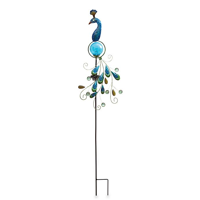 Alternate image 1 for Metal and Fused Glass Peacock Solar Garden Stake