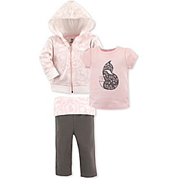 Yoga Sprout 3-Piece Pink Fox Hoodie, T-Shirt and Pant Set in Pink/Brown