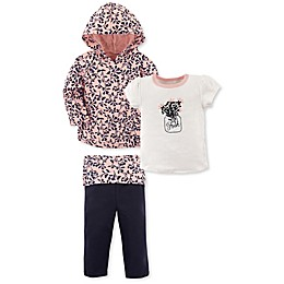 Yoga Sprout 3-Piece Flowers Jacket, Tee Top, and Pant Set in Pink/Black