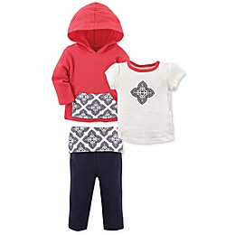 Yoga Sprout 3-Piece Clover Jacket, Tee Top, and Pant Set in Red/White