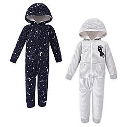 Luvable Friends® 2-Pack Spaceship Hooded Toddler Footies in Grey