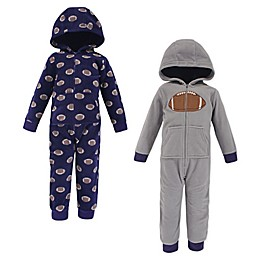 Hudson Baby® 2-Pack Football Hooded Fleece Toddler Coveralls in Grey
