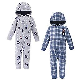 Hudson Baby® 2-Pack Penguin Hooded Fleece Toddler Coveralls in Blue