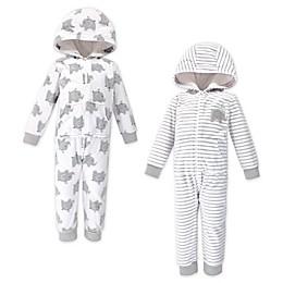 Hudson Baby® 2-Pack Elephants Hooded Fleece Toddler Jumpsuits