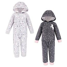 Hudson Baby® 2-Pack Unicorn Stars Hooded Fleece Toddler Coveralls in Grey