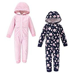 Hudson Baby® 2-Pack Rose Toddler Fleece Coveralls in Blue