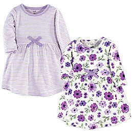 Touched by Nature© Long-Sleeve Garden 2-Pack Organic Cotton Dresses in Purple