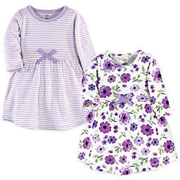 Touched by Nature© Size 2T Long-Sleeve Garden 2-Pack Organic Cotton Dresses in Purple