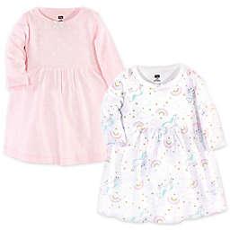 Hudson Baby® Size 12-18M 2-Pack Glitter Unicorn Long Sleeve Dresses