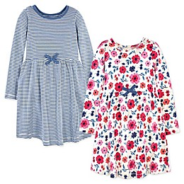 Touched by Nature 2-Pack Garden Floral Organic Cotton Long Sleeve Dresses in Blue