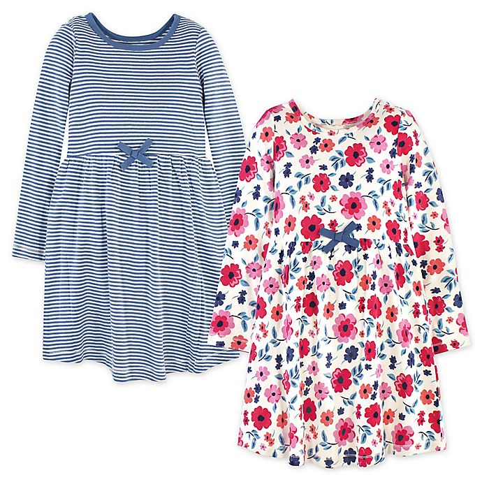 Alternate image 1 for Touched by Nature 2-Pack Garden Floral Organic Cotton Long Sleeve Dresses in Blue