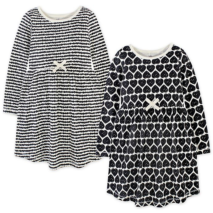 Alternate image 1 for Touched by Nature 2-Pack Heart Organic Cotton Long Sleeve Dresses in Black