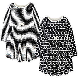Touched by Nature 2-Pack Heart Organic Cotton Long Sleeve Dresses in Black
