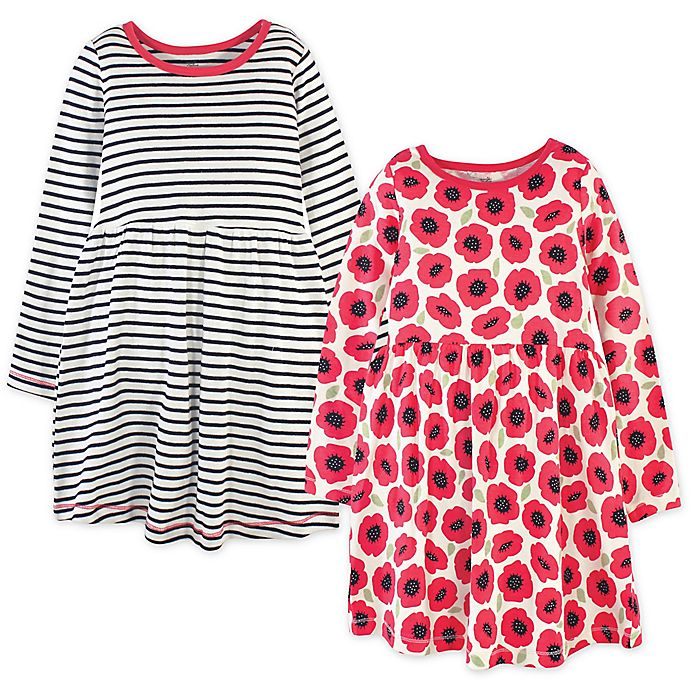 Alternate image 1 for Touched by Nature 2-Pack Poppy Organic Cotton Long Sleeve Dresses in Red