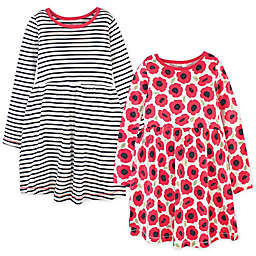 Touched by Nature 2-Pack Poppy Organic Cotton Long Sleeve Dresses in Red