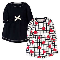 Touched by Nature© Size 18-24M Long-Sleeve Red/Black Hearts 2-Pack Organic Cotton Dresses