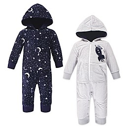Yoga Sprout 2-Pack Baby Spaceship Hooded Union Suit in Grey