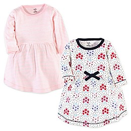 Touched by Nature© Long-Sleeve Floral Dot 2-Pack Organic Cotton Dresses