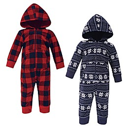 Hudson Baby® 2-Pack Plaid Fleece Coveralls in Red