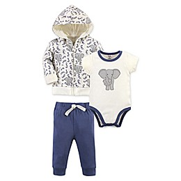 Touched by Nature® 3-Piece Elephant Organic Cotton Hoodie, Bodysuit, and Pant Set