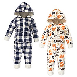 Hudson Baby® 2-Pack Baby Forest Fleece Hooded Coveralls in Orange