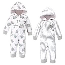 Hudson Baby® 2-Pack Baby Elephants Fleece Coveralls in Grey