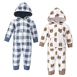 Hudson Baby® 2-Pack Baby Little Bear Fleece Coveralls in White