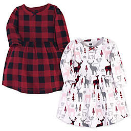Hudson Baby® 2-Pack Deer Long Sleeve Dresses in Grey