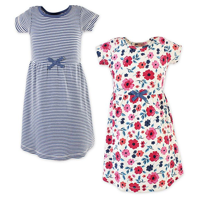 Alternate image 1 for Touched by Nature 2-Pack Floral Organic Cotton Dresses in Blue