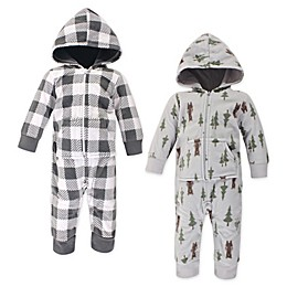 Hudson Baby® 2-Pack Baby Forest Bear Fleece Coveralls in Grey