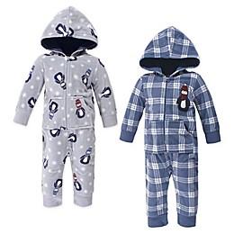 Hudson Baby® 2-Pack Penguin Fleece Jumpsuits in Blue