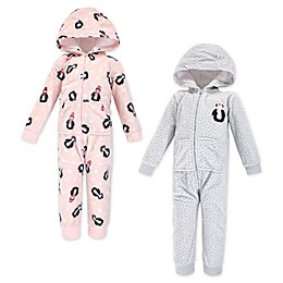 Hudson Baby® 2-Pack Penguin Hooded Fleece Toddler Coveralls in Pink