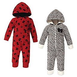 Little Treasure 2-Pack Leopard Bow Hooded Union Suits