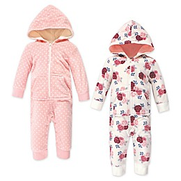 Hudson Baby® 2-Pack Floral Dots Hooded Fleece Toddler Coveralls in Pink