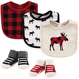 Hudson Baby® Size 0-9M 5-Piece Moose Bib and Socks Set in Black
