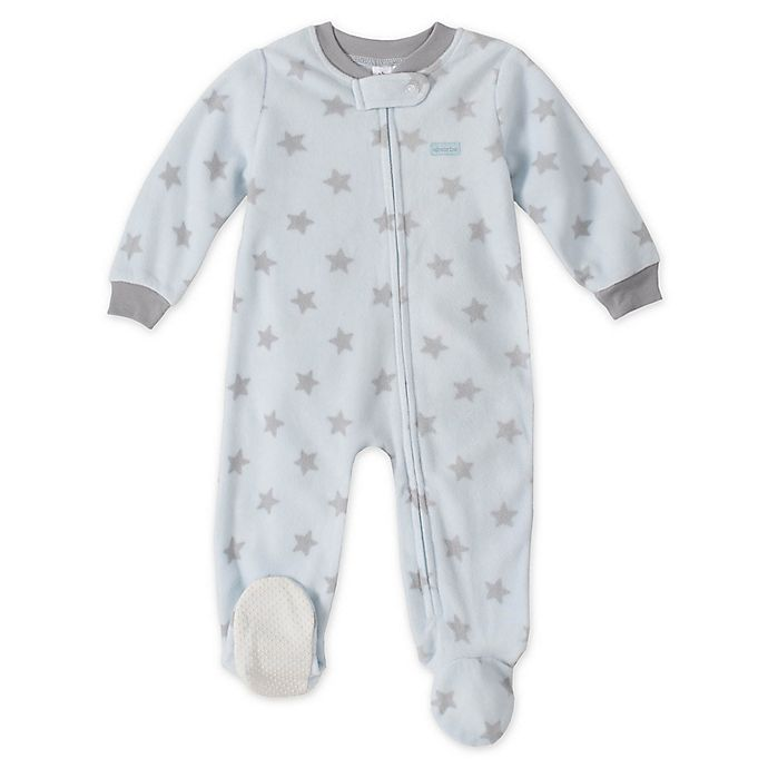 Alternate image 1 for Absorba® Grey Star Footed Pajamas in Light Blue