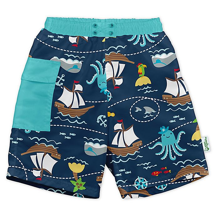 Alternate image 1 for i play.® by green sprouts® Pirate Swim Trunks and Diaper in Navy