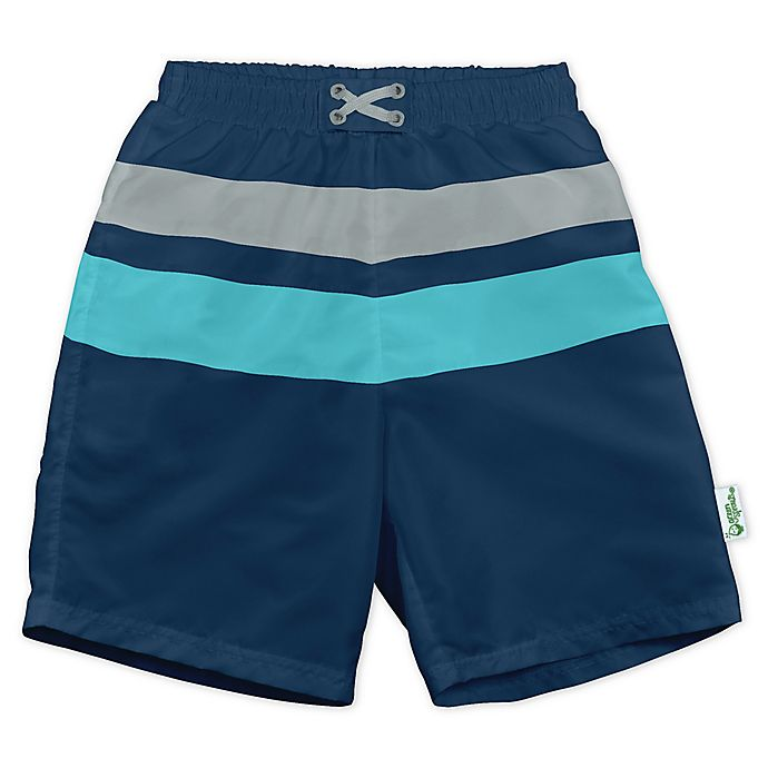 Alternate image 1 for i play.® by green sprouts® Stripe Swim Trunks and Diaper in Navy