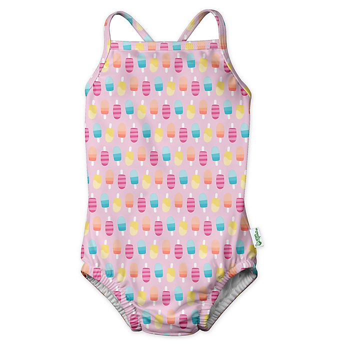 Alternate image 1 for i play.® by green sprouts® Size 12M Popsicle 1-Piece Swimsuit and Built-in Diaper in Pink