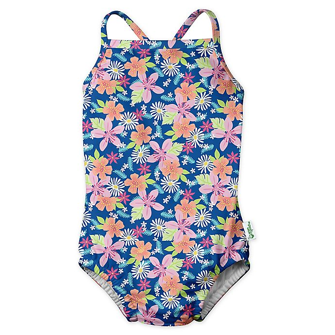 Alternate image 1 for i play.® by green sprouts® Size 3T Paradise Flower Swimsuit and Diaper in Blue