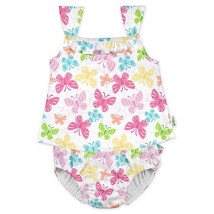 Alternate image 1 for i play.® by green sprouts® Butterflies Tankini and Swim Diaper in White