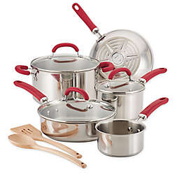 Rachael Ray™ Create Delicious Stainless Steel 10-Piece Cookware Set in Red
