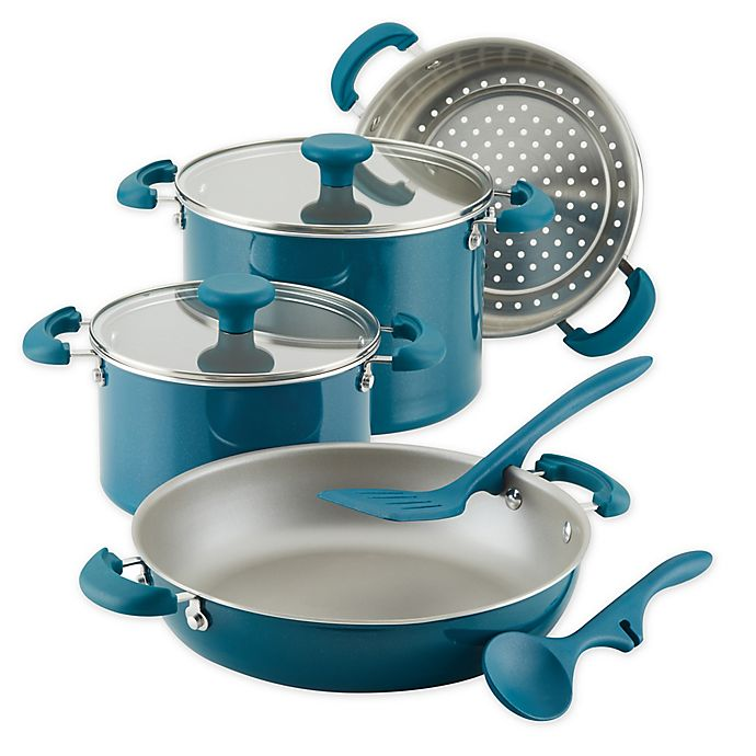 Alternate image 1 for Rachael Ray™ Create Delicious Nonstick Aluminum 8-Piece Cookware Set