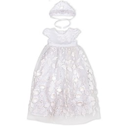 Biscotti Satin Flower Gown with Bonnet Set in White
