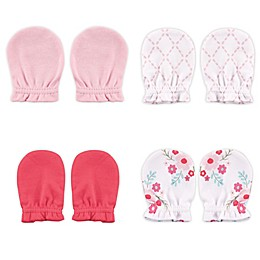 Luvable Friends® 4-Pack Floral No Scratch Mittens in Pink
