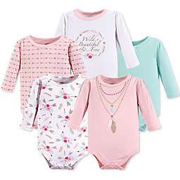 Little Treasure 5-Pack Boho Long Sleeve Bodysuits in Pink